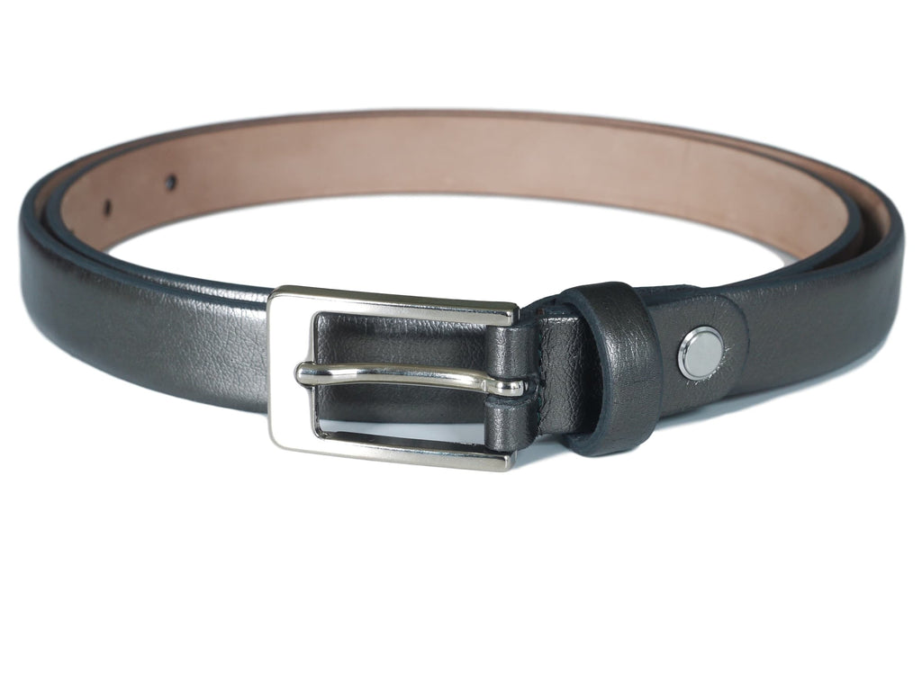 Dark Pewter skinny leather belt