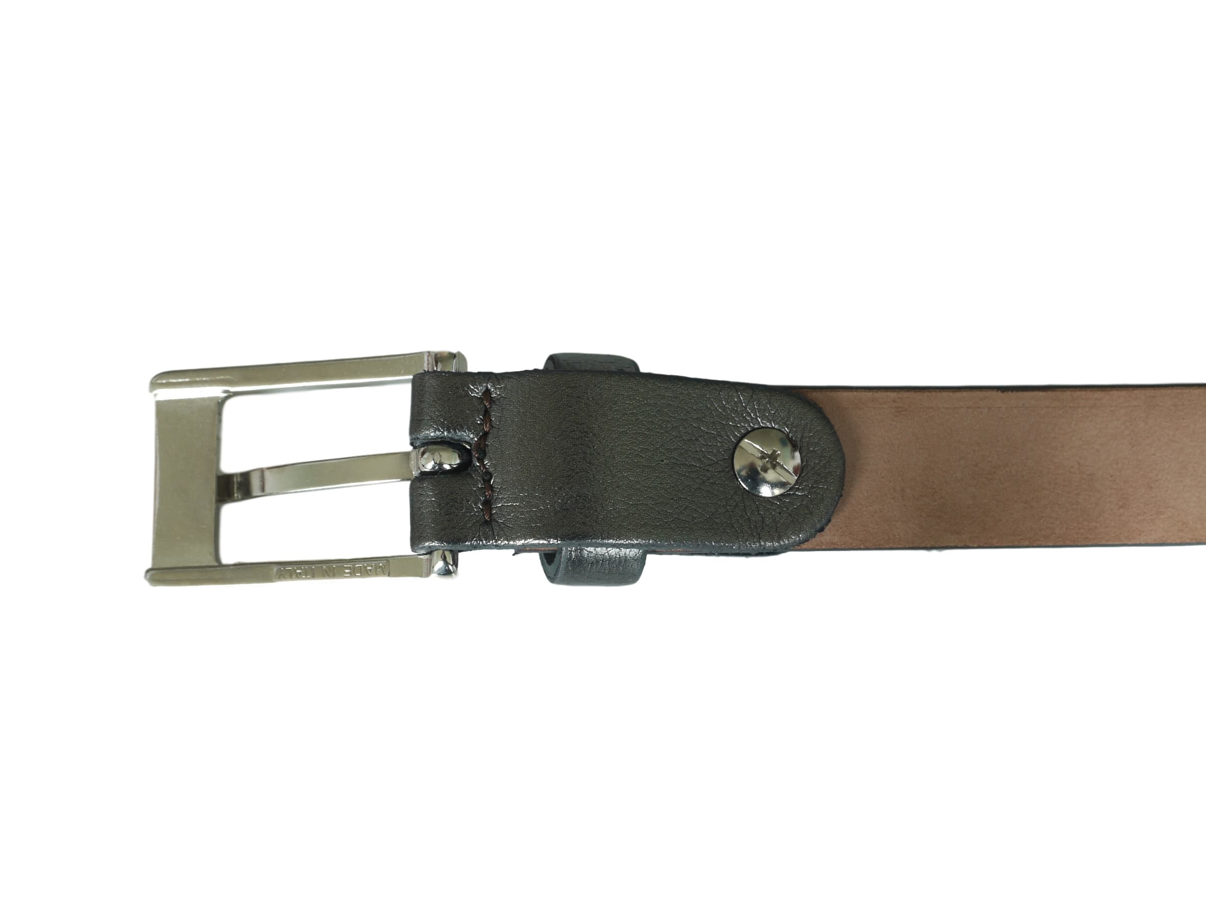 Shiny Charcoal skinny belt nickel buckle back