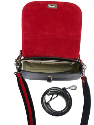 Red suede lined black bag