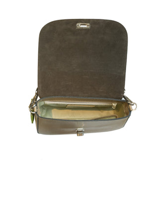 suede lined saddle bag handbag open