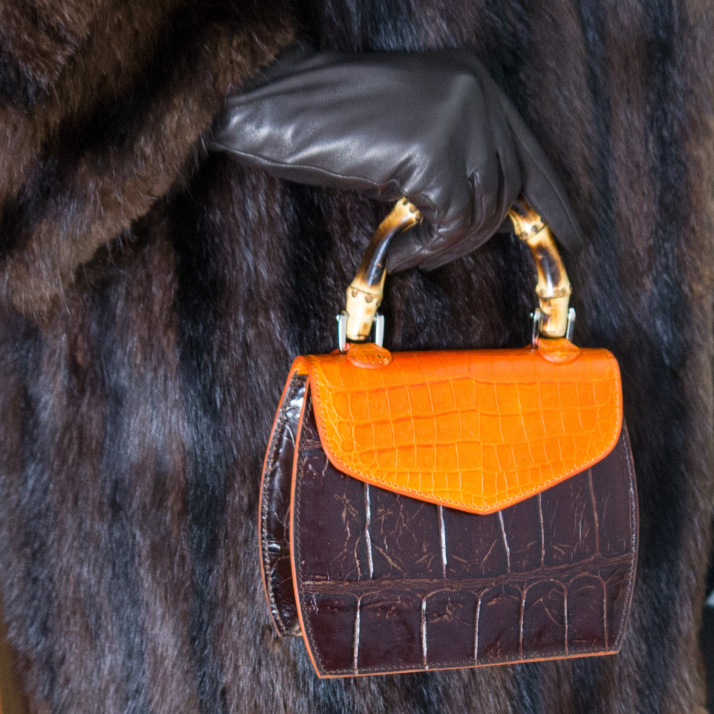 Primrose Mini bag - Orange and Chocolate Brown