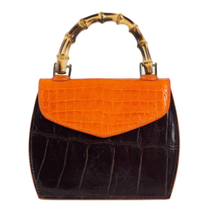 dark brown and orange mini bag bamboo handle