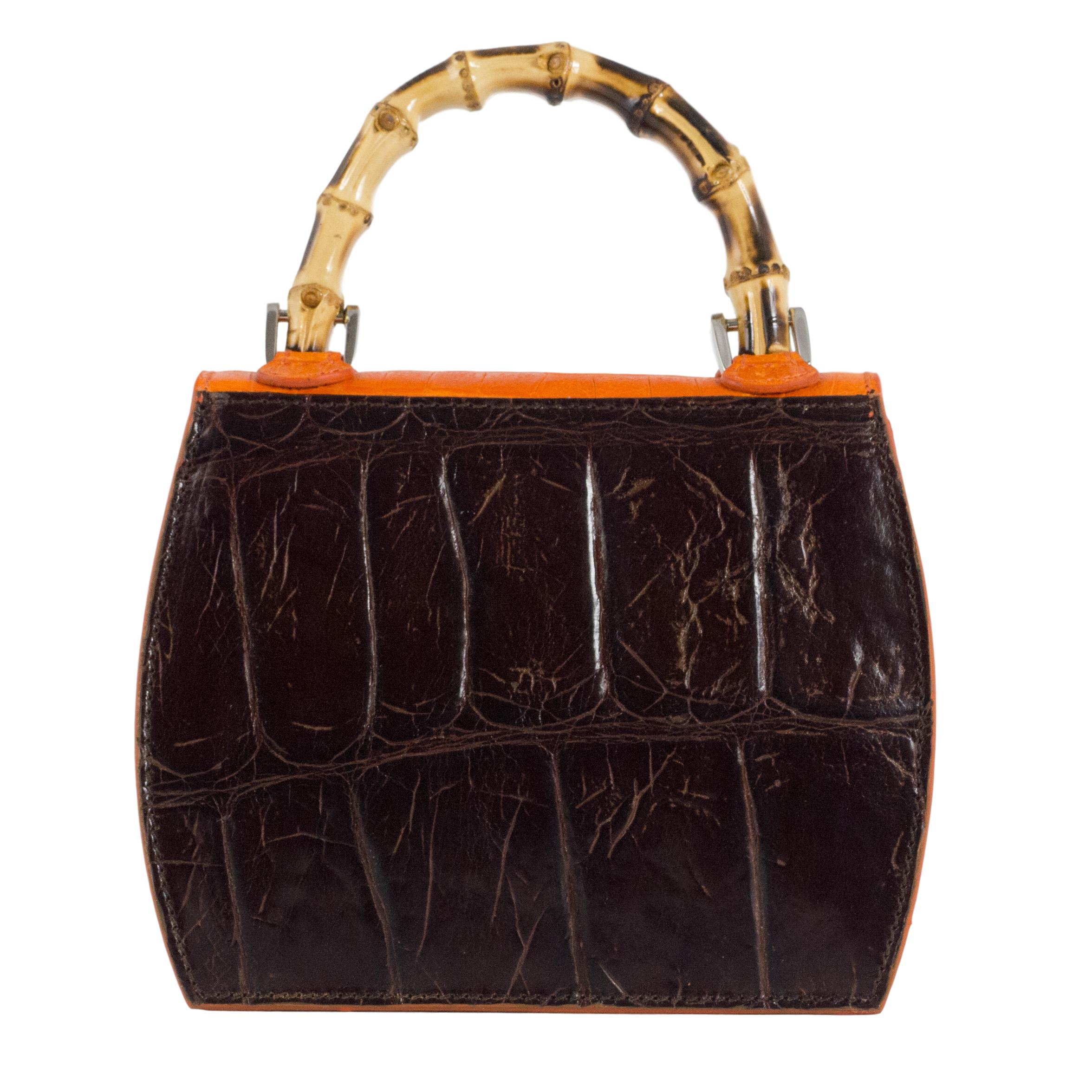 bamboo mini handbag dark brown orange back