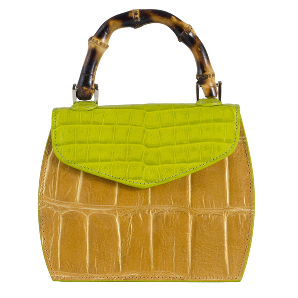 Primrose Mini Bag - Lime and Gold highlighted Tan Leather