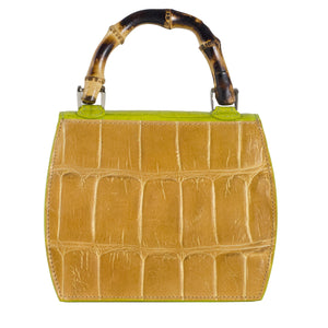 Tan mock croc and green occasion bag back