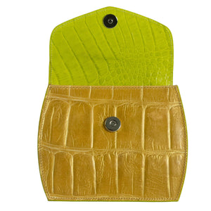 Tan mock croc and green mini occasion bag open