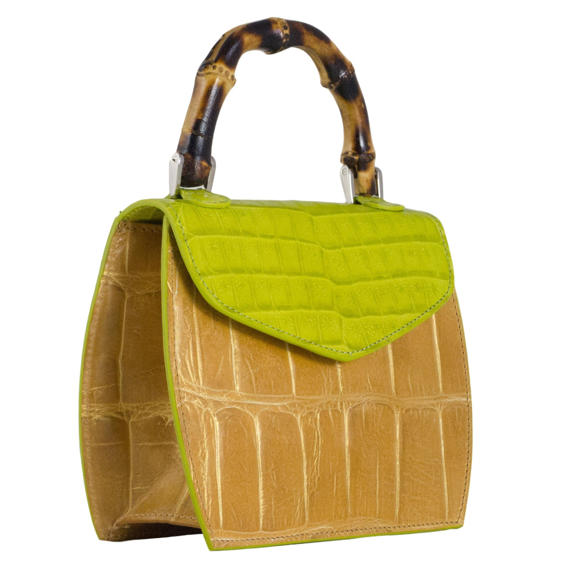 green and tan mini bag with bamboo handle