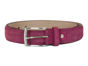 Raspberry Pink Suede Leather belt