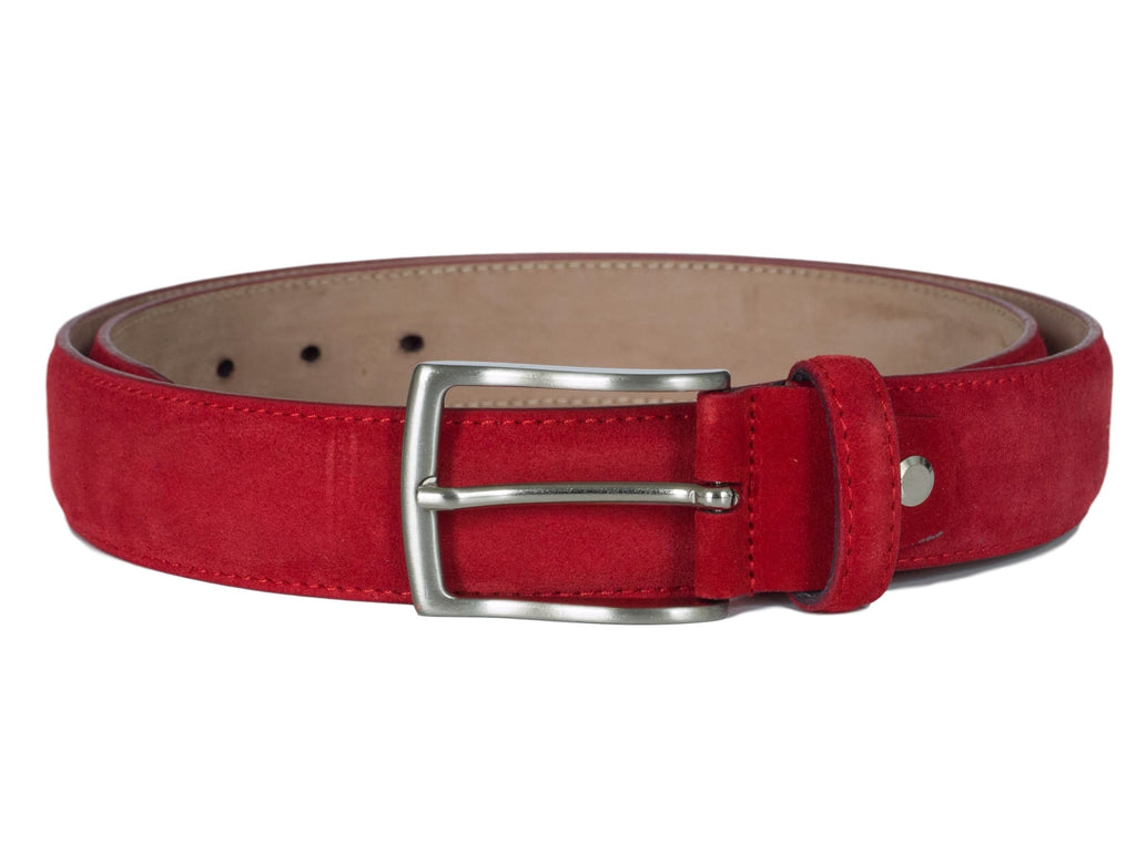 Red suede leather belt