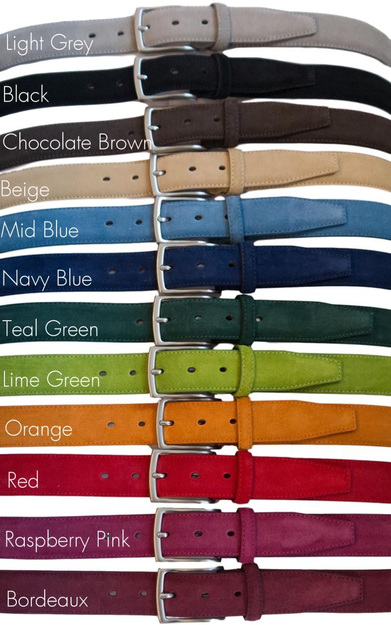 Suede leather belt colour range