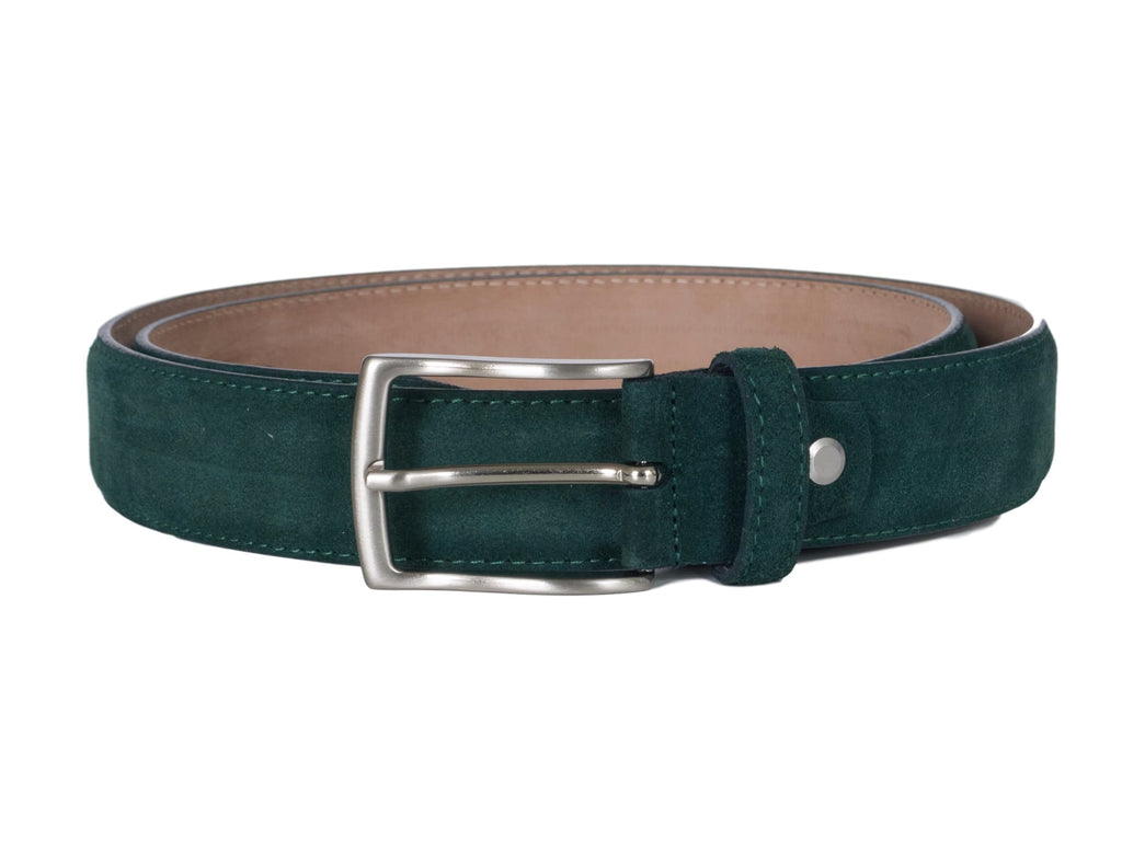 Dark green teal suede belt