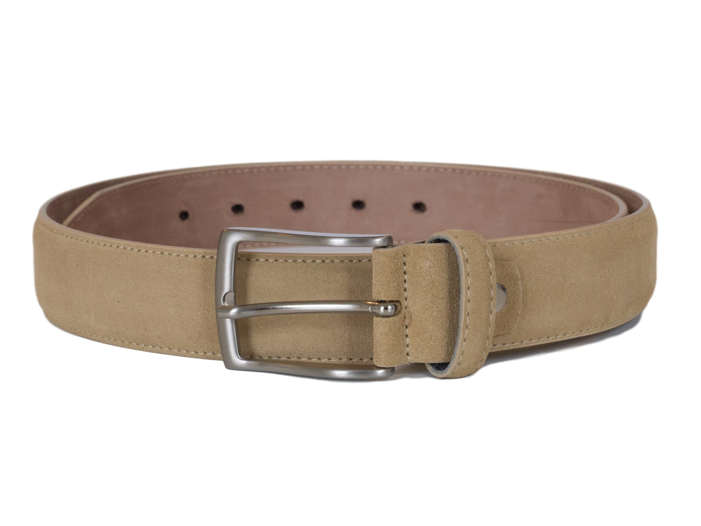 Beige suede leather belt