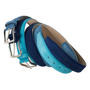 Dark blue mid blue and turquoise blue suede leatherbelts