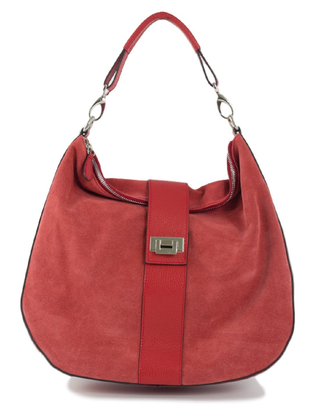 red suede leather handbag