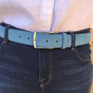 Mid Blue Suede Leather Belt on model