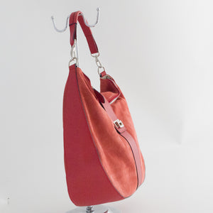 Tulip Suede and Leather Handbag - Soft Red