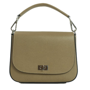 Beige Saffiano leather saddlebag front view