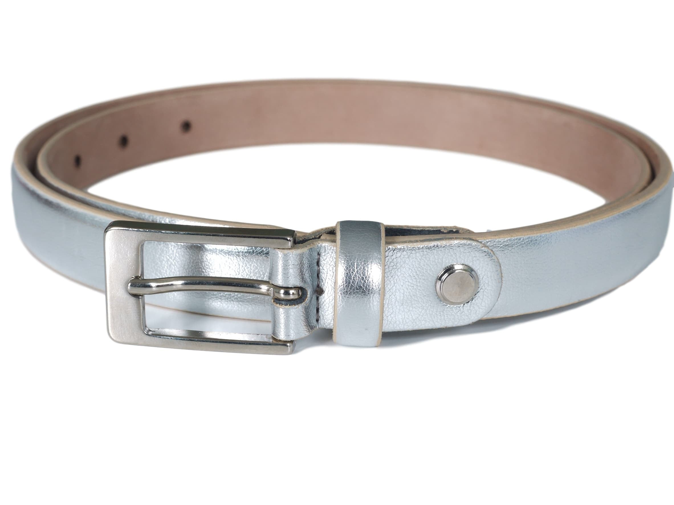 Silver  narrow leather Belt