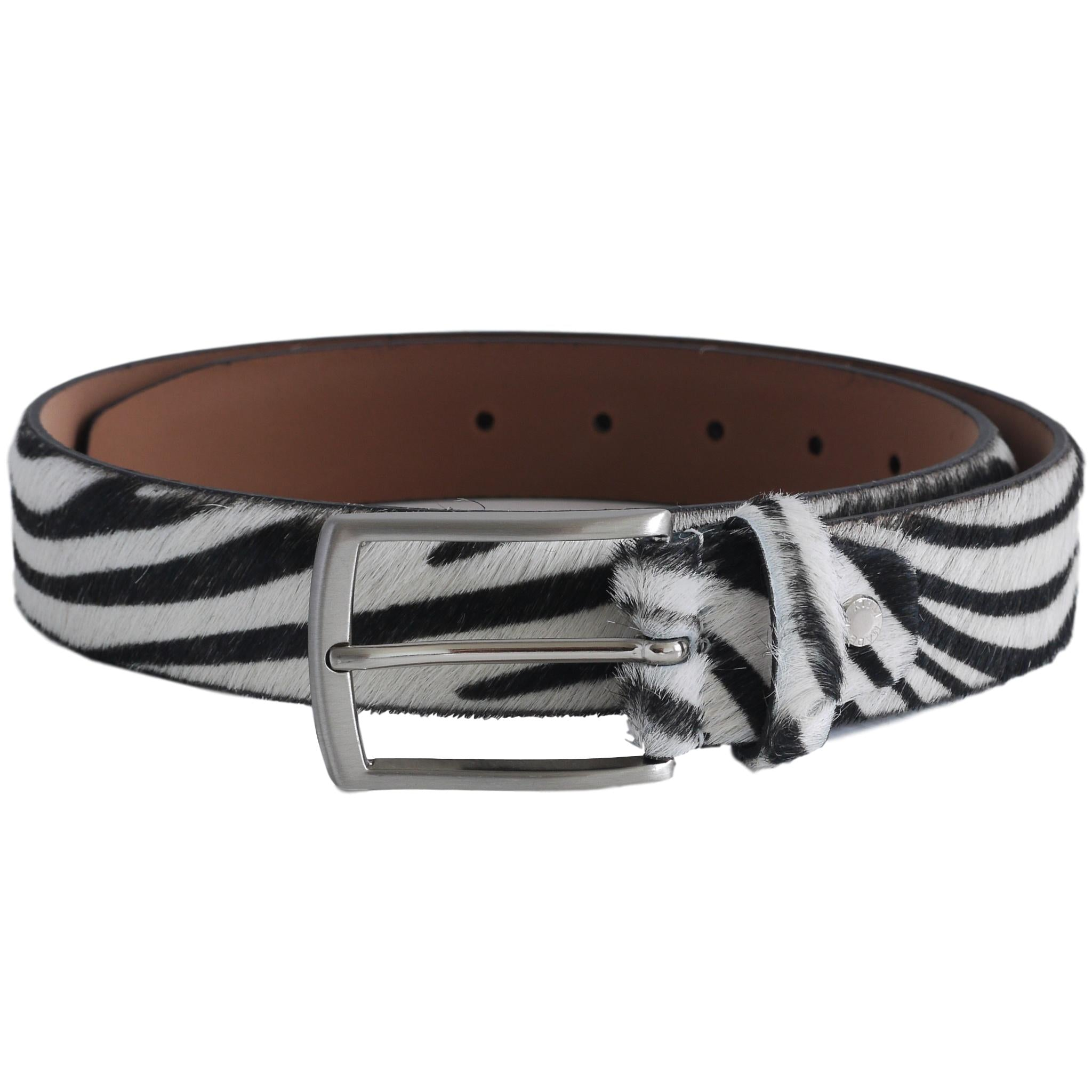 Zebra print cow hide belt