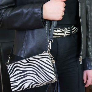 zebra print cowhide crossbody clutch bag and belt