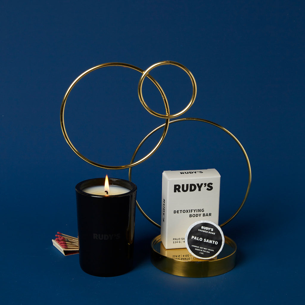 Our 60 hour candle with Rudy's Detoxifying Body Bar
