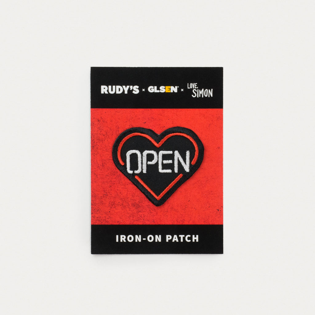Rudy's Barbershop Open Hearted Iron-On Patch