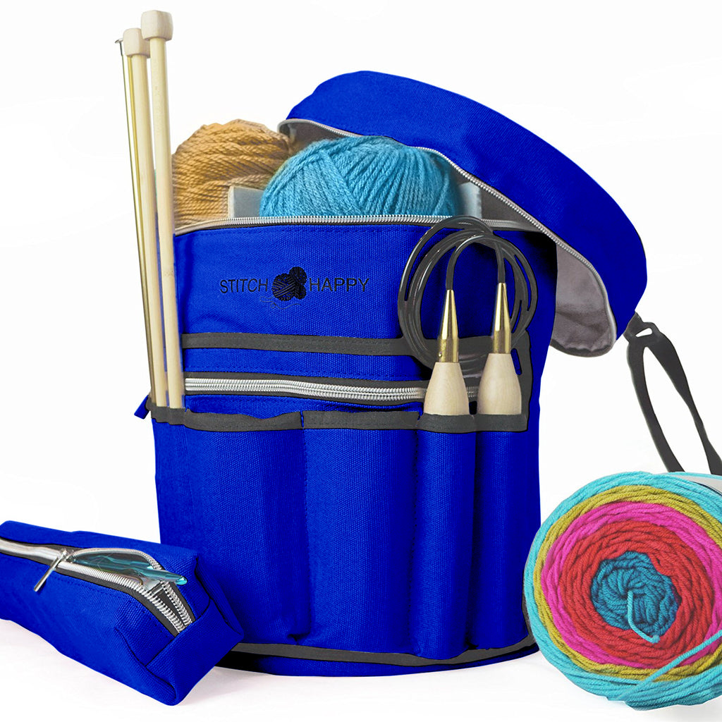 Knitting Bag (Cobalt): 7 Pocket Yarn Bag, Crochet Bag for Yarn Storage, Crochet Storage