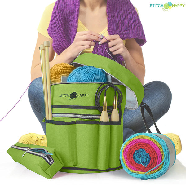 Knitting Bag (Green): 7 Pocket Yarn Bag, Crochet Bag, Yarn Storage, Crochet Storage