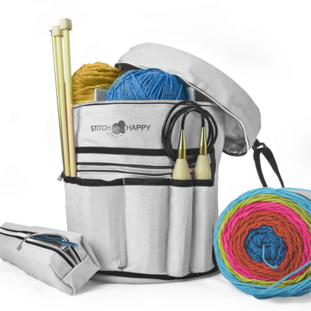 Knitting Bag (Gray): 7 Pocket Yarn Bag, Crochet Bag for Yarn Storage or Crochet Storage