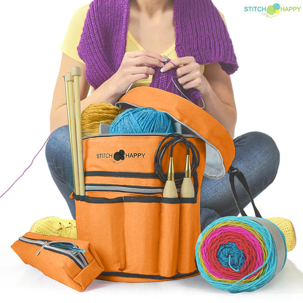 Knitting Bag (Orange): 7 Pocket Yarn Bag, Crochet Bag, Yarn Storage, Crochet Storage