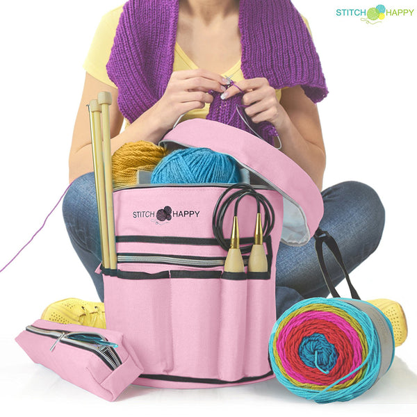 Knitting Bag (Pink): 7 Pocket Yarn Bag, Crochet Bag, Yarn Storage, Crochet Storage