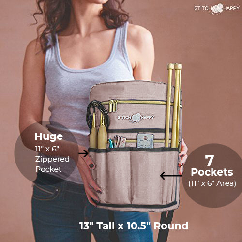 Knitting Bag (Tan): 7 Pocket Yarn Bag, Crochet Bag for Yarn Storage or Crochet Storage
