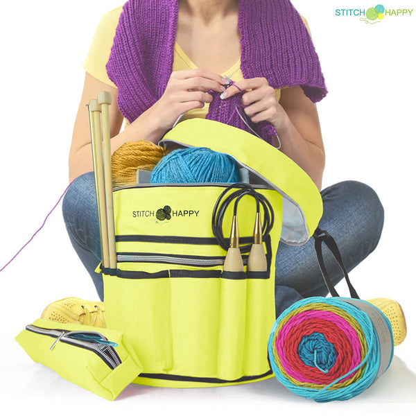 Knitting Bag (Sunshine Yellow): 7 Pocket Yarn Bag, Crochet Bag, Yarn Storage, Crochet Storage