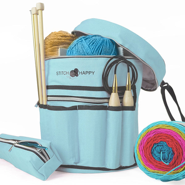 Knitting Bag - Yarn Organizer For All Your Knitting Accessories With Bonus Crochet Hook Case, 7 Pockets + Divider for Extra Storage of Projects & Supplies (Angel Blue)