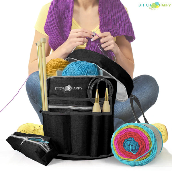Knitting Bag (Black): 7 Pocket Yarn Bag, Crochet Bag, Yarn Storage, Crochet Storage