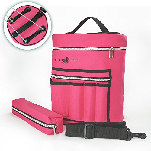 Knitting Bag - Yarn Tote Organizer w/Tool Case, 7 Pockets + Divider for Extra Storage of Projects, Supplies & Crochet (Fuchsia)