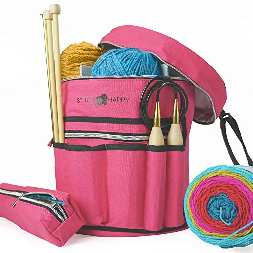 Knitting Bag (Fuchsia): 7 Pocket Yarn Bag, Crochet Bag, Yarn Storage, Crochet Storage