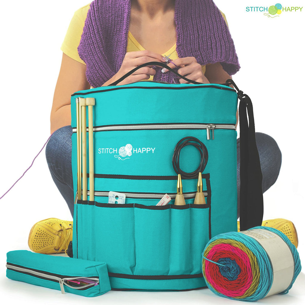 Large Yarn Tote Knitting Organizer Bag w/ Tool Case, 7 Pockets + Divider for Extra Storage of Projects, Supplies & Crochet - Peacock