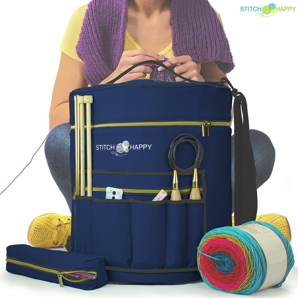 Large Yarn Tote Knitting Organizer Bag w/ Tool Case, 7 Pockets + Divider for Extra Storage of Projects, Supplies & Crochet - Navy