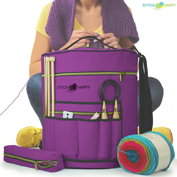 Large Yarn Tote Knitting Organizer Bag w/ Tool Case, 7 Pockets + Divider for Extra Storage of Projects, Supplies & Crochet - Lilac