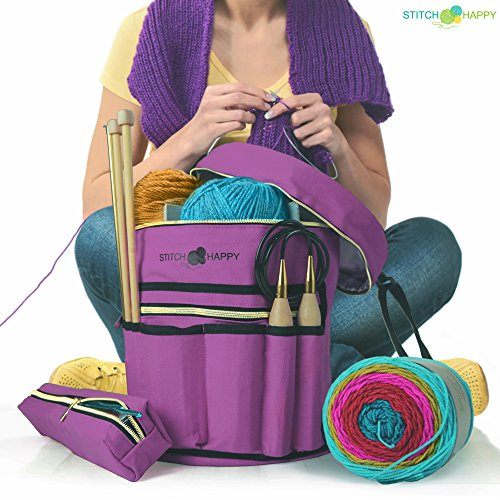 Knitting Bag - Yarn Tote Organizer w/Tool Case, 7 Pockets + Divider for Extra Storage of Projects, Supplies & Crochet (Lilac)