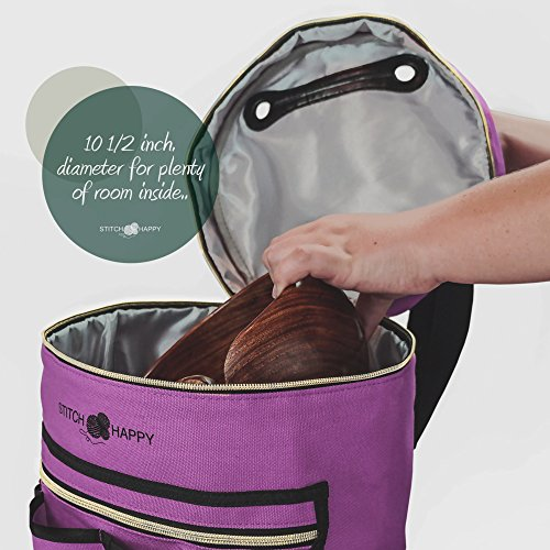 Knitting Bag (Lilac): 7 Pocket Yarn Bag, Crochet Bag for Yarn Storage, Crochet Storage