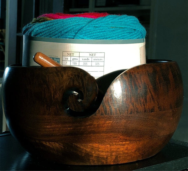 "Wood Bowl Handmade - 8"" x 4"" Extra Large Knitting Yarn Holder"