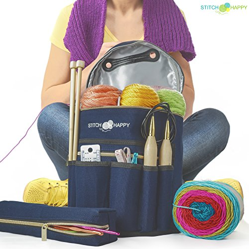 Knitting Bag (Navy): 7 Pocket Yarn Bag, Crochet Bag for Yarn Storage or Crochet Storage