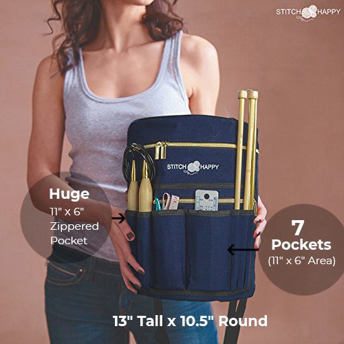 Knitting Bag - Yarn Organizer For All Your Knitting Accessories With Bonus Crochet Hook Case, 7 Pockets + Divider for Extra Storage of Projects & Supplies (Navy)