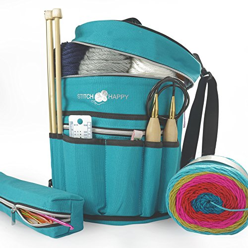 Knitting Bag - Yarn Tote Organizer w/Tool Case, 7 Pockets + Divider for Extra Storage of Projects, Supplies & Crochet (Peacock)