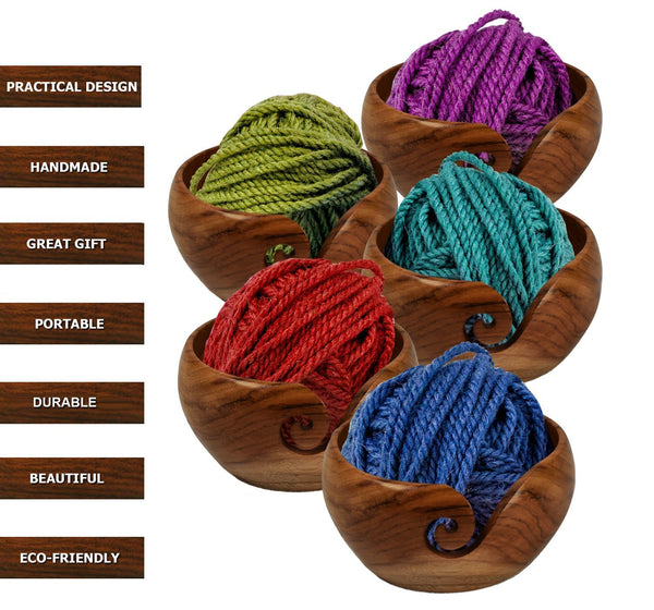 Stitch Happy Handmade Teak Wooden Yarn Bowl with Elegant Design