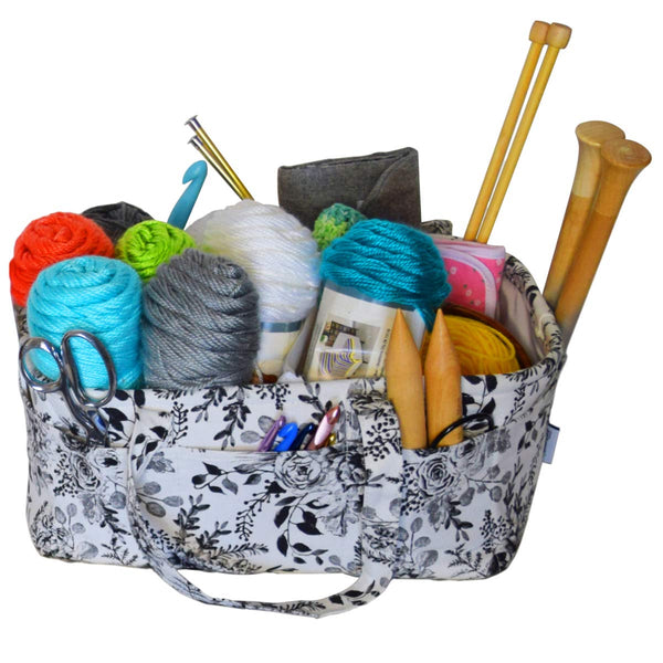 Stitch Happy Yarn Caddy - Storage Basket for Knitting and Crochet Supplies - Art Storage and Organization