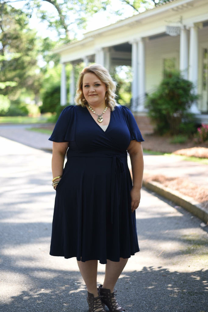 Navy Flutter Dress