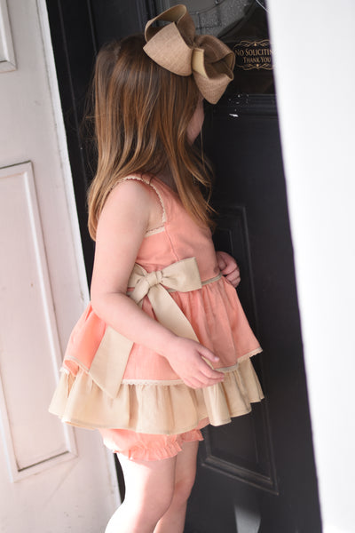 Linen - Peach tunic set 18m 4t